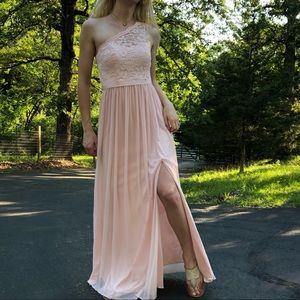 Soft pink pleated lace one shoulder formal prom